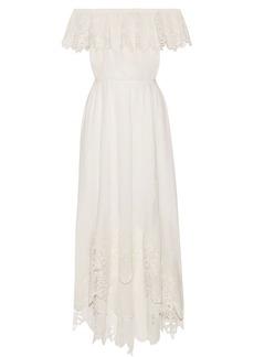 Rachel Zoe Hasley off-the-shoulder crochet-trimmed cotton-gauze midi dress