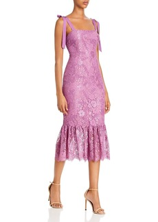 Rachel Zoe Jessica Fluted Floral Lace Midi Dress - 100% Exclusive