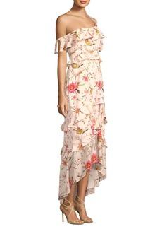 Rachel Zoe Jillian One-Shoulder Chiffon Ruffle Gown