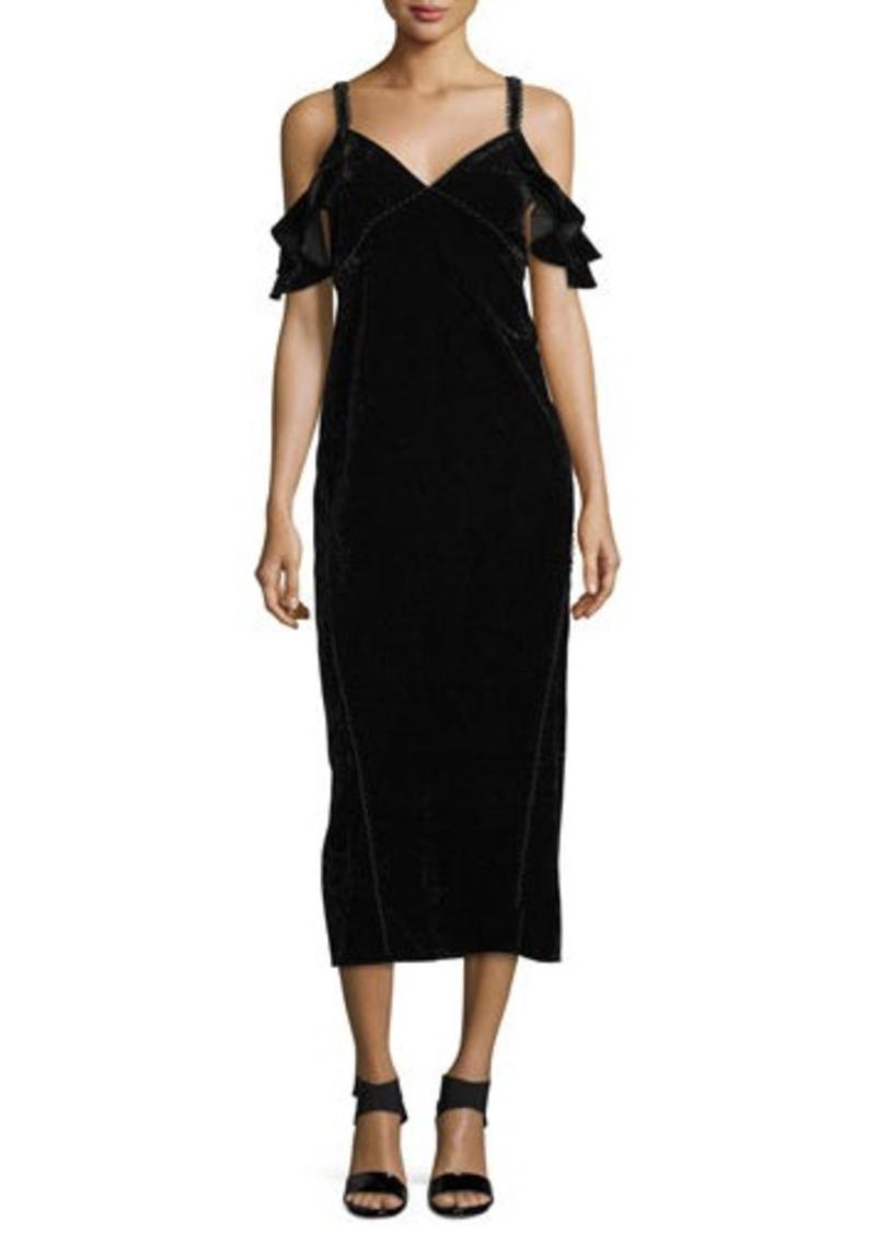 Rachel Zoe Kinsley Velvet Cold-Shoulder Slip Dress