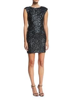 Rachel Zoe Knott Sequin Cap-Sleeve Cocktail Dress