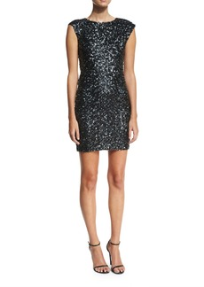 Rachel Zoe Knott Sequin Cap-Sleeve Cocktail Dress