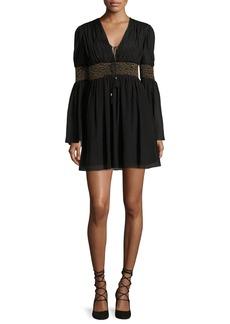 Rachel Zoe Laurel Smocked Chiffon Mini Dress