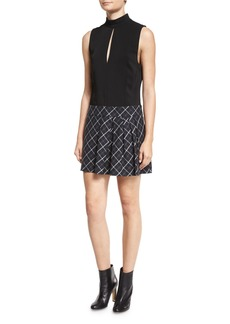 Rachel Zoe Naya Dress w/Pleated Plaid Skirt