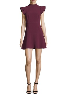 Rachel Zoe Parma High-Neck Flutter-Sleeve Fit-and-Flare Dress
