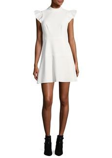 Rachel Zoe Parma Mock-Neck Flutter Sleeve A-line Dress