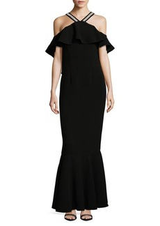 Rachel Zoe Ruffled Cold-Shoulder Mermaid Gown