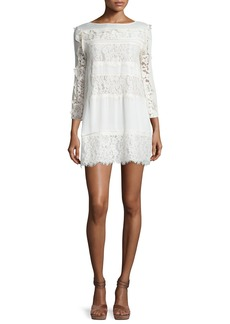 Rachel Zoe Sasha Ruffle-Trim Paneled-Lace Day Dress