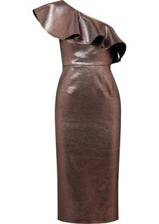 Rachel Zoe Tabitha ruffled one-shoulder metallic jacquard midi dress