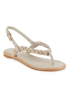 Rachel Zoe Tasia Leather Open-Toe Flat Sandals