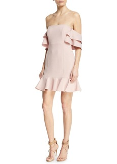 Rachel Zoe Tracy Off-the-Shoulder Flounce Mini Dress