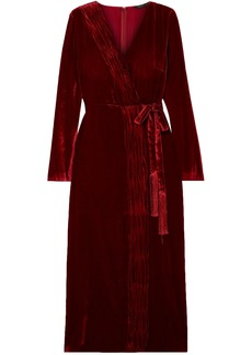 Rachel Zoe Woman Aly Gathered Wrap-effect Velvet Dress Brick