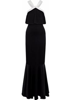 Rachel Zoe Woman Amanda Two-tone Layered Crepe De Chine Gown Black