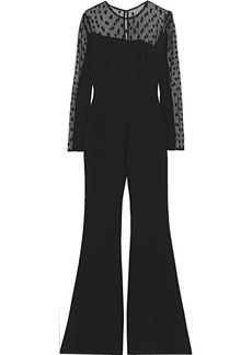 Rachel Zoe Woman Amber Point D'esprit And Crepe Jumpsuit Black
