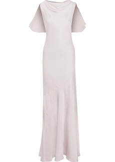 Rachel Zoe Woman Ami Ruffle-trimmed Hammered-satin Gown Lilac