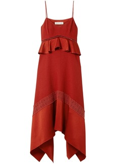 Rachel Zoe Woman Astrid Crochet And Satin-trimmed Crepe Midi Dress Crimson