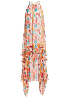 Rachel Zoe Woman Bellarosa Asymmetric Ruffled Printed Chiffon Midi Dress Pastel Orange