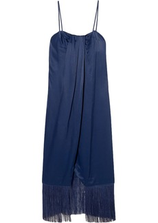 Rachel Zoe Woman Brighton Fringed Draped Satin Midi Dress Storm Blue
