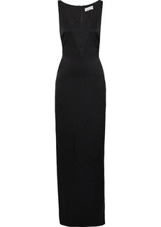 Rachel Zoe Woman Caine Chantilly Lace-paneled Satin Gown Black