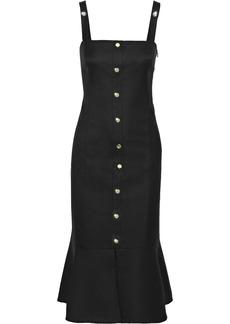 Rachel Zoe Woman Camille Button-embellished Cutout Twill Midi Dress Black