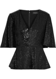 Rachel Zoe Woman Clover Sequin-embellished Stretch-crepe Peplum Top Black