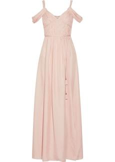 Rachel Zoe Woman Coleen Off-the-shoulder Ruched Silk Maxi Dress Pastel Pink