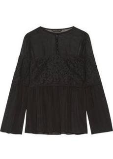 Rachel Zoe Woman Cotton-blend Corded Lace-paneled Silk Crepe De Chine Blouse Black