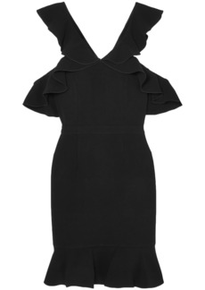 Rachel Zoe Woman Delia Cold-shoulder Ruffled Crepe Mini Dress Black