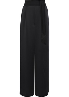 Rachel Zoe Woman Delta Belted Satin Wide-leg Pants Black