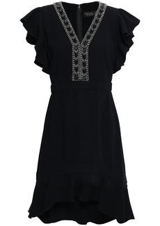 Rachel Zoe Woman Dena Ruffle-trimmed Embellished Crepe Mini Dress Black
