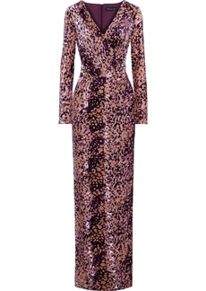 Rachel Zoe Woman Dianora Wrap-effect Devoré-velvet Gown Purple