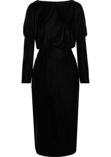 Rachel Zoe Woman Emmaline Open-back Stretch-velvet Dress Black