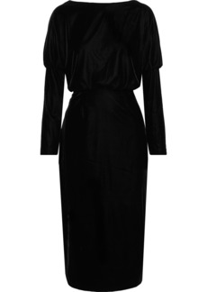 Rachel Zoe Woman Emmaline Open-back Stretch-velvet Dress Black