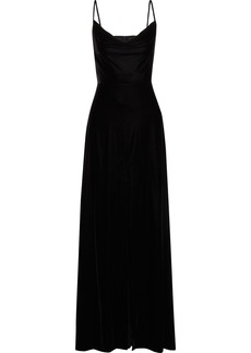 Rachel Zoe Woman Felicitti Draped Stretch-velvet Gown Black