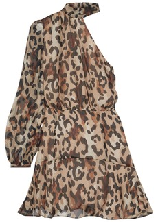 Rachel Zoe Woman Fergie One-shoulder Gathered Leopard-print Chiffon Mini Dress Animal Print