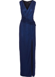Rachel Zoe Woman Gabrianna Ruched Metallic Jersey Gown Navy
