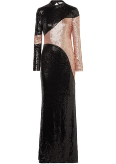 Rachel Zoe Woman Genevieve Open-back Two-tone Sequined Crepe Gown Black