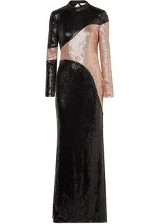 Rachel Zoe Woman Genevieve Open-back Two-tone Sequined Crepe Gown Black