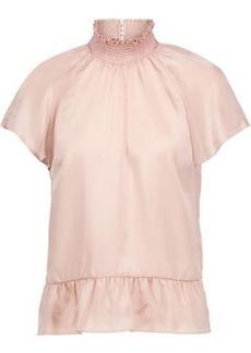Rachel Zoe Woman Harbor Silk-satin Peplum Top Blush