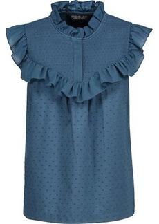 Rachel Zoe Woman Hera Ruffle-trimmed Swiss-dot Cotton-voile Blouse Cobalt Blue