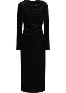 Rachel Zoe Woman Hudson Draped Corduroy Midi Dress Black