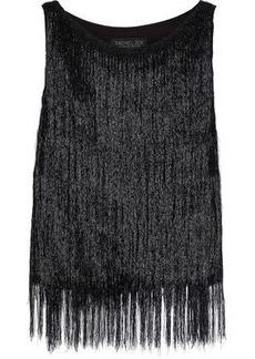 Rachel Zoe Woman Iggy Fringed Metallic Knitted Top Black