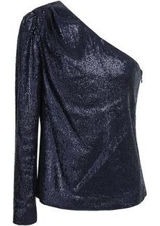 Rachel Zoe Woman Ira One-shoulder Sequined Stretch-jersey Top Indigo