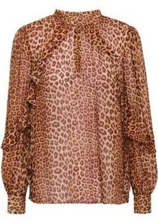 Rachel Zoe Woman Jayne Ruffle-trimmed Leopard-print Silk-chiffon Blouse Animal Print