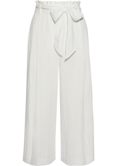 Rachel Zoe Woman Joan Belted Pleated Broadcloth Culottes Ecru