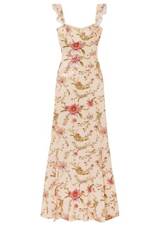 Rachel Zoe Woman Leola Floral-print Sequined Georgette Gown Pastel Orange