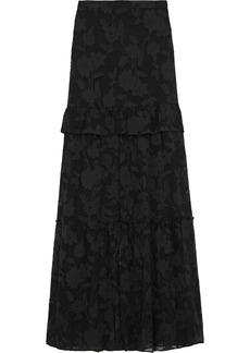 Rachel Zoe Woman Lilith Ruffle-trimmed Fil Coupé Silk And Cotton-blend Maxi Skirt Black