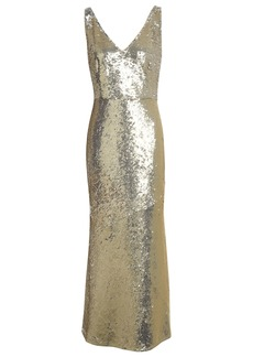 Rachel Zoe Woman Lola Fluted Sequined Stretch-jersey Maxi Dress Gold