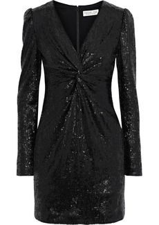 Rachel Zoe Woman Lou Twisted Sequined Stretch-knit Mini Dress Black