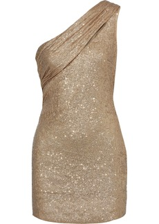 Rachel Zoe Woman Magda One-shoulder Sequined Metallic Stretch-knit Mini Dress Gold